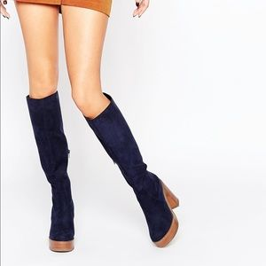 Women's Blue Charmed 70's Knee High Boots